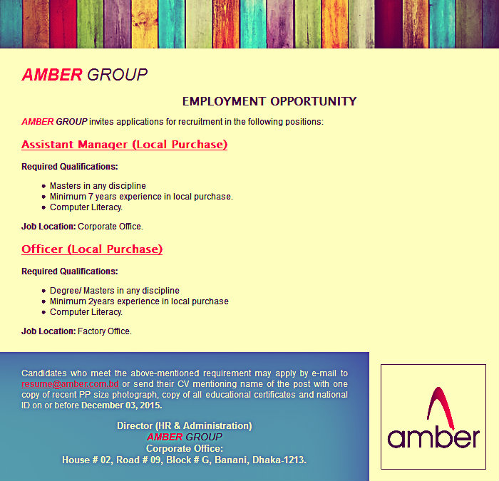Amber group job circular