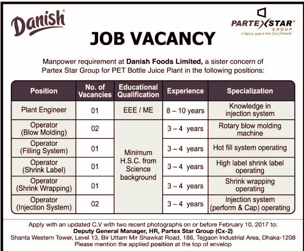 danish foods ltd job circular