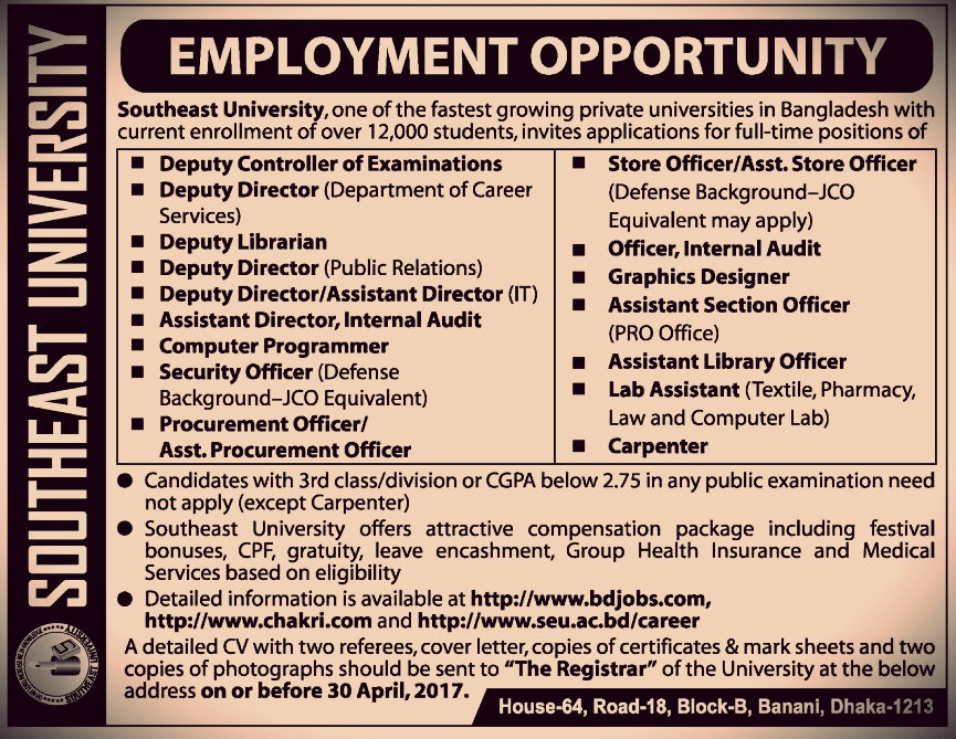 southeast university job circular